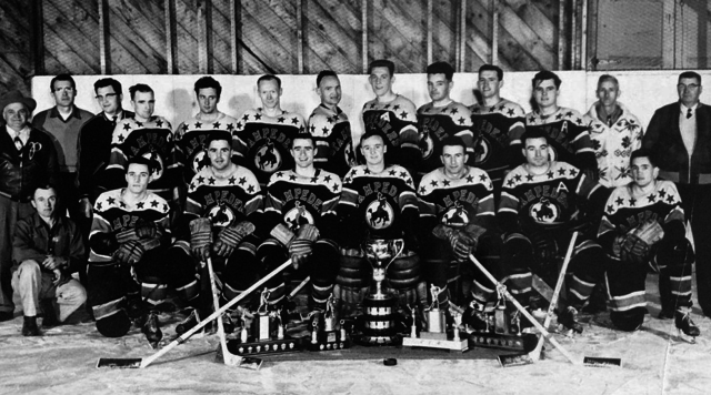 Ponoka Stampeders 1955 DE Black Trophy as Alberta Intermediate 'A' Hockey Champs