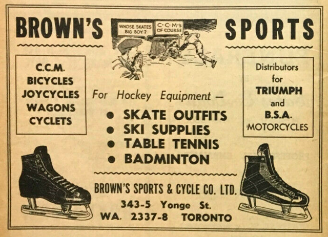 Brown's Sports & Cycle Co. Hockey Ad 1947