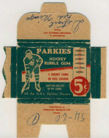 Parkies Hockey Card Wrapper/Box 1951 Parkhurst Products Ltd
