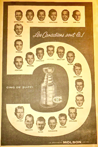 5 Stanley Cup Championships - 1956, 1957, 1958, 1959, 1960 Montreal Canadiens