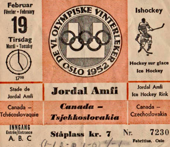 1952 Oslo Winter Olympic Hockey Ticket - Canada vs Czechoslovakia