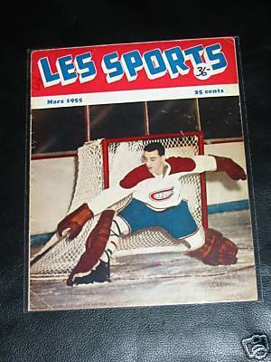 Ice Hockey Mag 1955  Les Sports  Jacques Plante cover