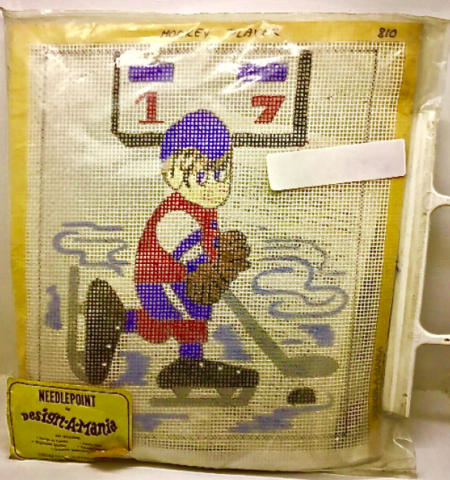 Hockey Needlepoint - Vintage Needlepoint by Design-A-Mania