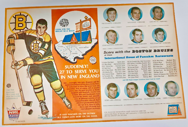 Vintage International House of Pancakes / IHOP Placemat 1969 Boston Bruins