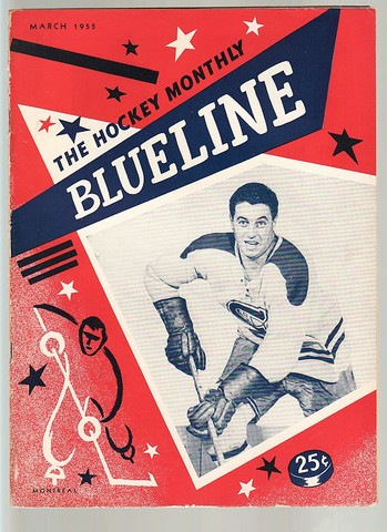 Ice Hockey Mag 1955 Blueline with Jean Beliveau cover