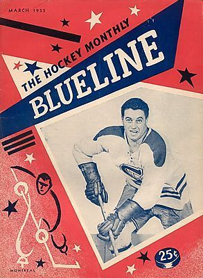 Ice Hockey Mag 1955 Blueline with Jean Beliveau