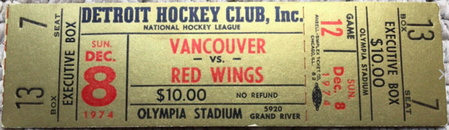 Vintage Hockey Ticket 1974 Detroit Red Wings vs Vancouver Canucks