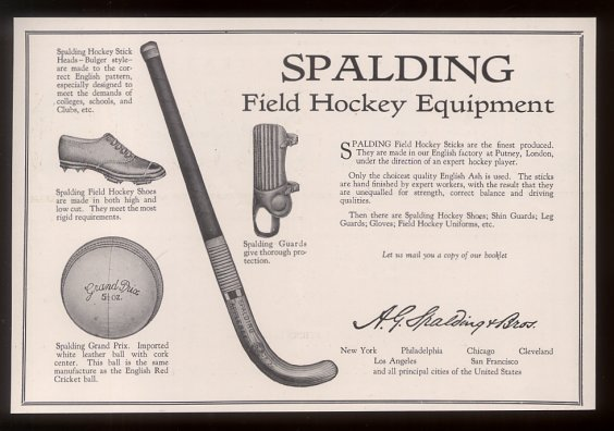 Spalding - Field Hockey Equipment Poster - 1927