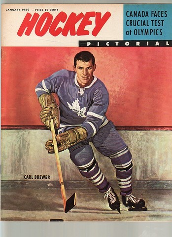 Ice Hockey Mag 1960 Hockey Pictorial  Carl Brewer cover