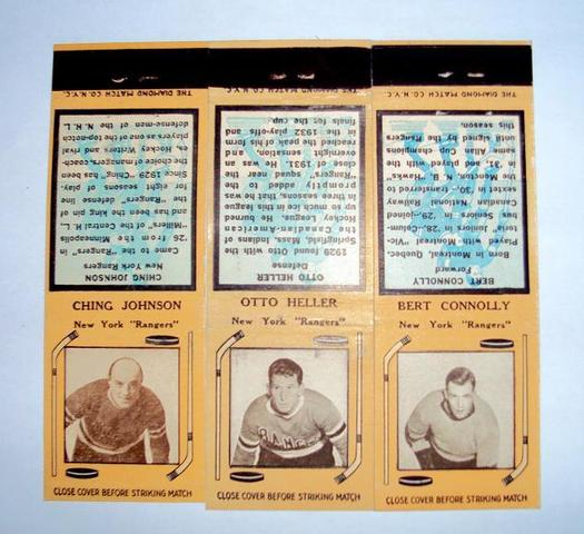Hockey Matchbooks 1936  Ching Johnson  Otto Heller  Bert Connoll
