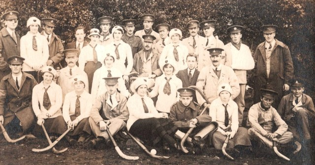 WW1 Field Hockey photo with Men and Women 1916