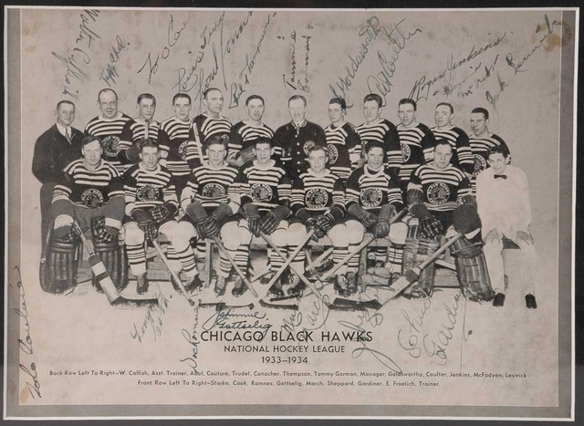 Chicago Black Hawks 1st Stanley Cup 1934 Autographed
