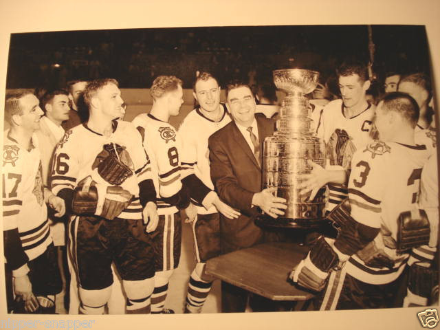 Chicago Black Hawks Coach Rudy Pilous Holds The Stanley Cup 1961