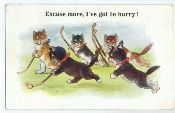 Cats Playing Hockey postcard -1