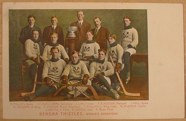 Kenora Thistles Postcard.  Stanley Cup Champions 1907