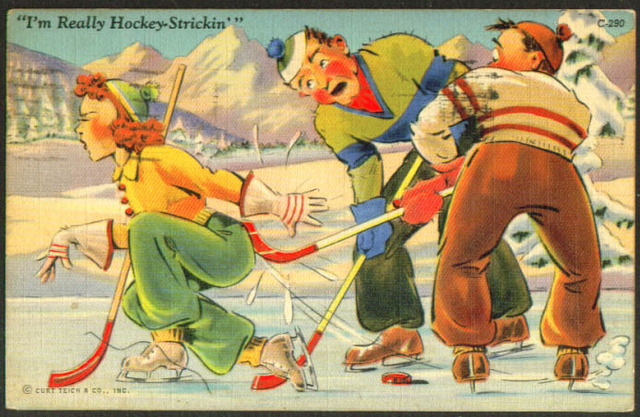 Ice Hockey Postcard 1942 I'm Really Hockey Strickin