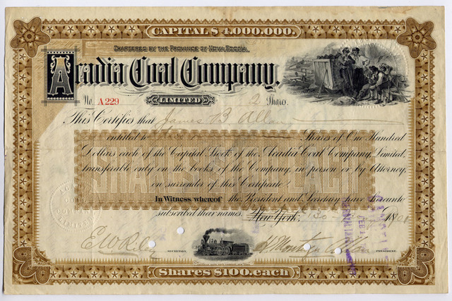 Hockey Stock Certificate 1901 Signed By Sir Montagu Allan Allen Cup Founder