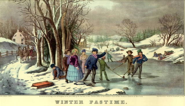 Currier and Ives Hockey Lithograph Print 1800s