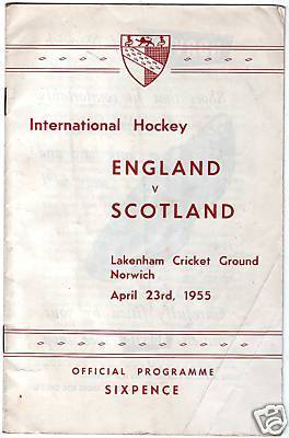 Field Hockey Program 1955  England vs Scotland