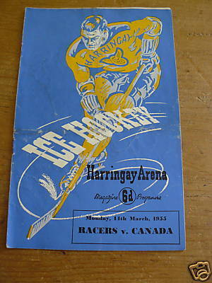 Ice Hockey Program 1955  Harringay Racers vs Canada