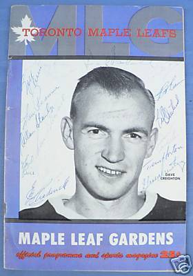 Ice Hockey Program 1958  Maple Leaf Gardens  autographed