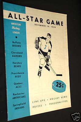 Ice Hockey Program 1959  AHL All Star Game