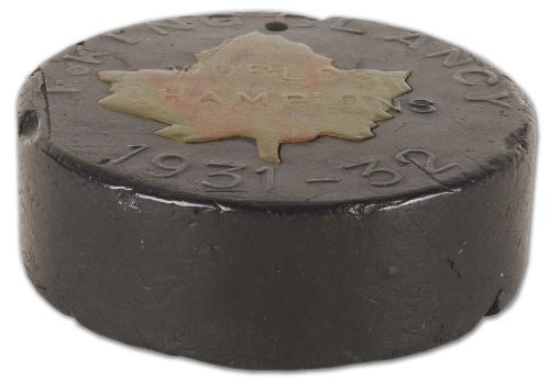 King Clancy Ice Hockey Puck 1932