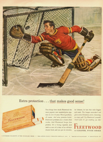 Fleetwood Cigarette Hockey Ad 1943