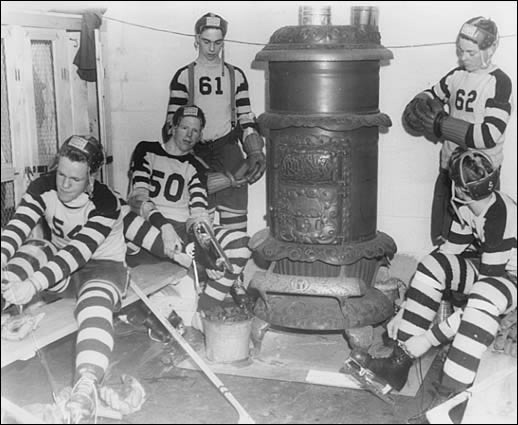 Hockey Dressing Room with wood burning stove as heater 1950s