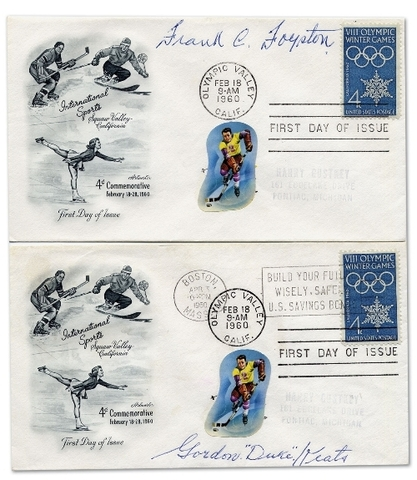 Ice Hockey Stamp FDC 1960  Frank Foyston and Duke Keats autograp
