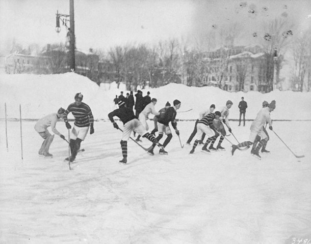 Antique Hockey Picture Outside