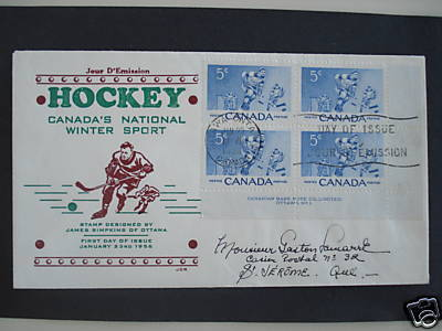 Ice Hockey Stamp 1956 With Letter For First Day Cover