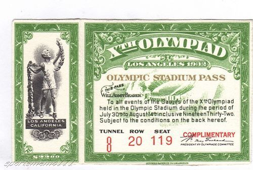 Field Hockey Ticket 1932 Oylmpics