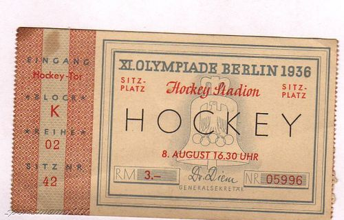 Field Hockey Ticket 1936 Olympics in Berlin