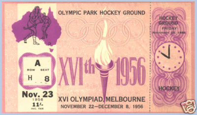 Field Hockey Ticket 1956  Olympics
