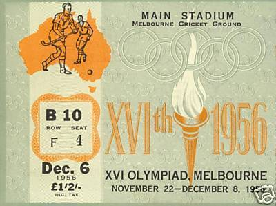 Field Hockey Ticket 1956 Gold Medal Game Olympics