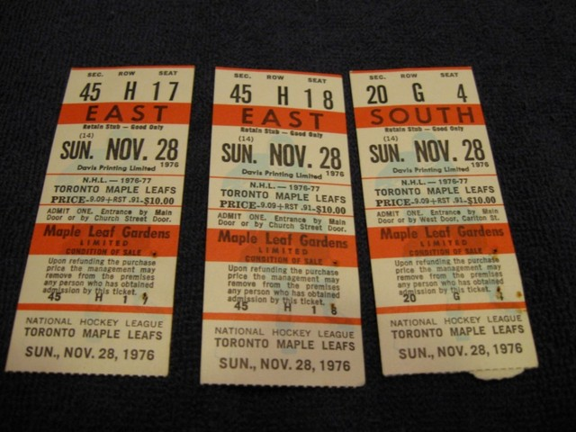 Hockey Tickets 1976 2 Hockeygods
