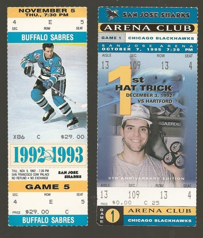 San Jose Sharks Ice Hockey Tickets 1992