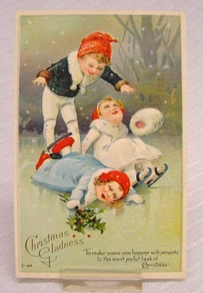 Antique  Christmas Card - Ice Skating -1880s