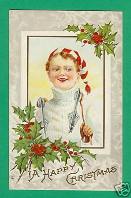 Antique Christmas Card - Boy With Hockey Skates