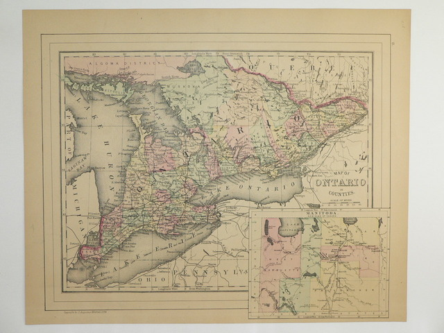 Map of Ontario - Great Lakes - 1885