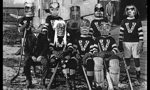 Vancouver Millionaires Ice Hockey Team with Native Masks