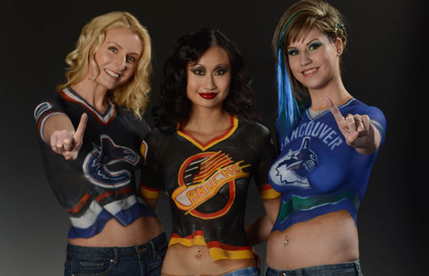 Vancouver Canucks Hockey Goddesses with Body Painted Jersey's