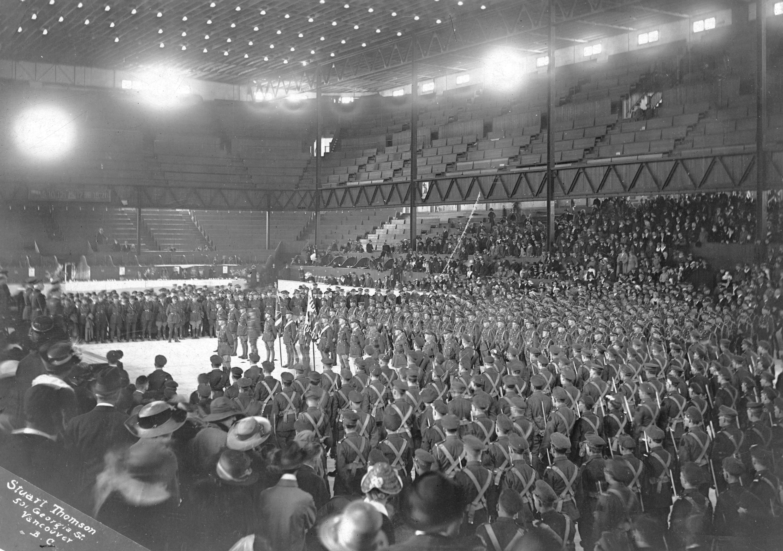 Denman Arena Interior 29th Battalion 1919 Hockeygods