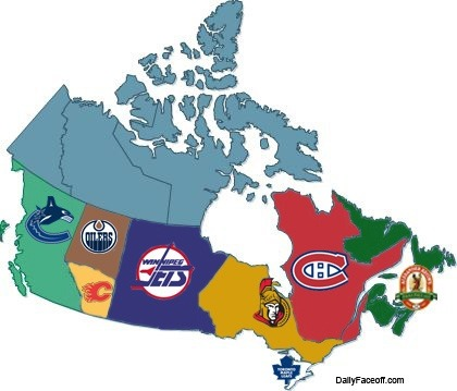 Map with Ice Hockey Team themes for Provinces  HockeyGods