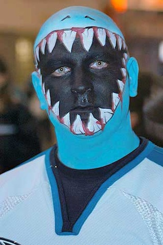 San Jose Sharks fan in Face Paint 1
