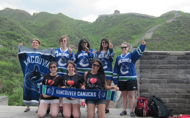 Vancouver Canucks Fans on The Great Wall of China