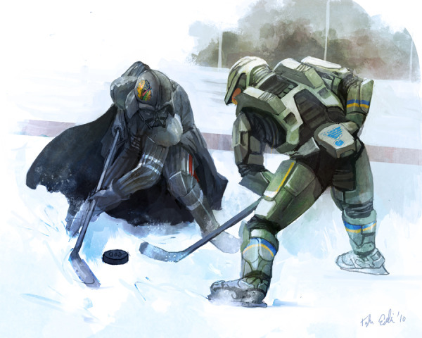 Darth Vader And Master Chief Battle For Ice Hockey Puck
