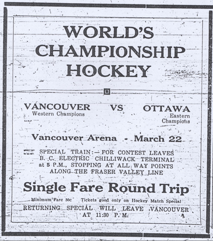 Stanley Cup Train Ad 1915 for Vancouver Vs Ottawa