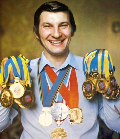 Vladislav Tretiak with his collection of Ice Hockey Medals